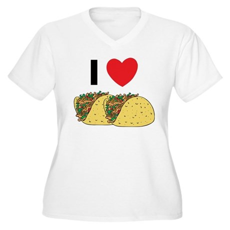 I Love Tacos Women's Plus Size V-Neck T-Shirt