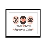 Peace Love Japanese Chin Framed Panel Print