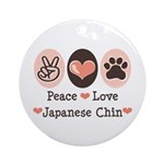 Peace Love Japanese Chin Ornament (Round)