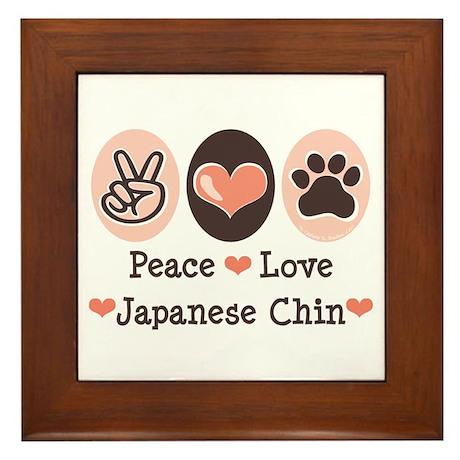 Peace Love Japanese Chin Framed Tile