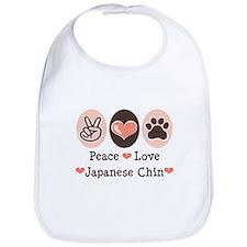 Peace Love Japanese Chin Bib
