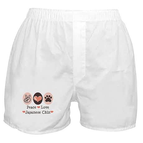Peace Love Japanese Chin Boxer Shorts
