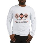 Peace Love Japanese Chin Long Sleeve T-Shirt