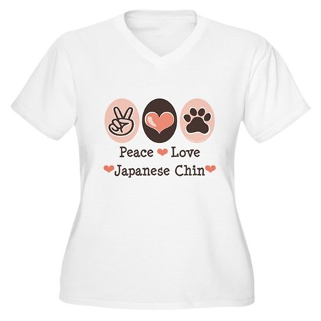 Peace Love Japanese Chin Women's Plus Size V-Neck
