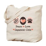 Peace Love Japanese Chin Tote Bag