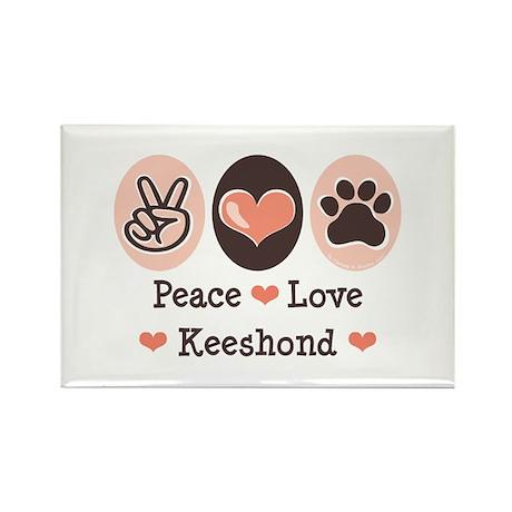 Peace Love Keeshond Rectangle Magnet