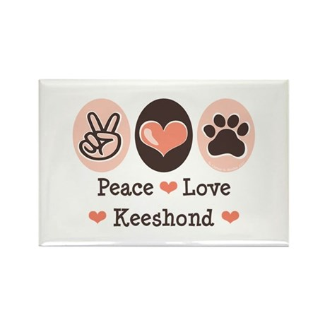 Peace Love Keeshond Rectangle Magnet (10 pack)