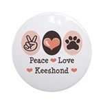 Peace Love Keeshond Ornament (Round)