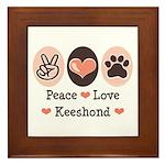 Peace Love Keeshond Framed Tile