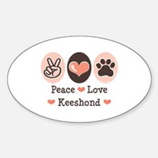 Peace Love Keeshond Oval Decal