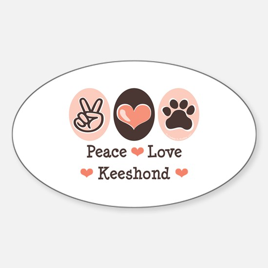 Peace Love Keeshond Oval Decal
