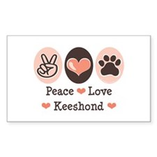 Peace Love Keeshond Rectangle Decal