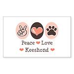 Peace Love Keeshond Rectangle Sticker