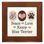 Peace Love Kerry Blue Terrier Framed Tile