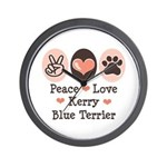 Peace Love Kerry Blue Terrier Wall Clock