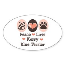 Peace Love Kerry Blue Terrier Oval Decal