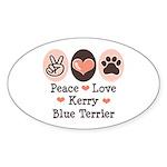Peace Love Kerry Blue Terrier Oval Sticker