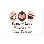 Peace Love Kerry Blue Terrier Sticker (Rectangular