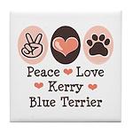 Peace Love Kerry Blue Terrier Tile Coaster