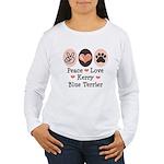 Peace Love Kerry Blue Terrier Women's Long Sleeve