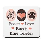 Peace Love Kerry Blue Terrier Mousepad