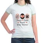 Peace Love Kerry Blue Terrier Jr. Ringer T-Shirt
