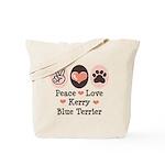 Peace Love Kerry Blue Terrier Tote Bag