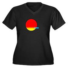 Laila Women's Plus Size V-Neck Dark T-Shirt