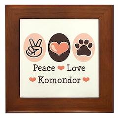 Peace Love Komondor Framed Tile