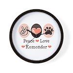 Peace Love Komondor Wall Clock