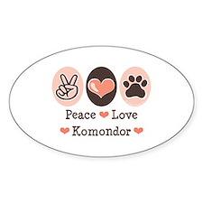 Peace Love Komondor Oval Decal