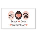 Peace Love Komondor Rectangle Sticker