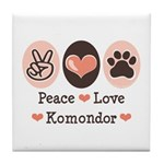 Peace Love Komondor Tile Coaster