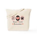 Peace Love Komondor Tote Bag