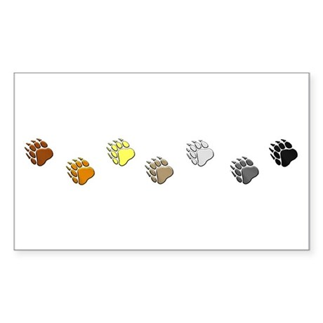 BEAR PRIDE BEAR PAWS/HORIZONTAL Sticker (Rectangul