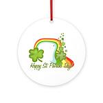 Happy St Patricks Day Rainbow Ornament (Round)