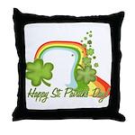 Happy St Patricks Day Rainbow Throw Pillow