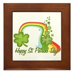 Happy St Patricks Day Rainbow Framed Tile