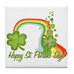 Happy St Patricks Day Rainbow Tile Coaster