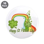 "Happy St Patricks Day Rainbow 3.5"" Button (10 pack"