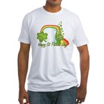 Happy St Patricks Day Rainbow Fitted T-Shirt