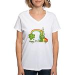 Happy St Patricks Day Rainbow Women's V-Neck T-Shi