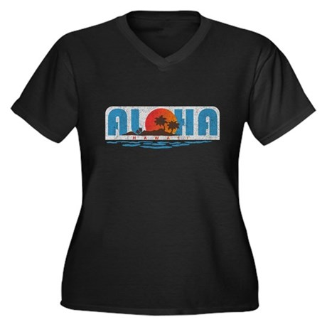 Vintage Aloha Hawaii Women's Plus Size V-Neck Dark