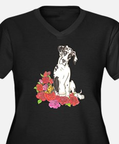 NH Spring Pup Women's Plus Size V-Neck Dark T-Shir