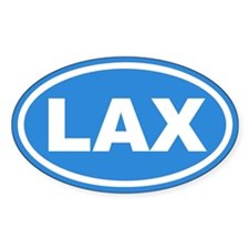 LAX Lacrosse Blue Euro Oval Bumper Stickers