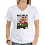 Addicted To Football Women's V-Neck T-Shirt