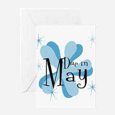 Due In May Retro Splat Greeting Card