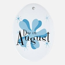 Due In August Retro Splat Oval Ornament