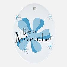 Due In November Retro Splat Oval Ornament