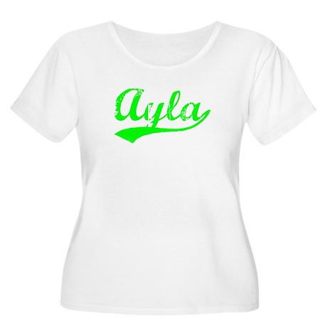 Vintage Ayla (Green) Women's Plus Size Scoop Neck